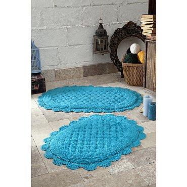 """Набор ковриков для ванной кружевной """"MODALIN MERIT"""" (50*80; 45*60), бирюзовый"""