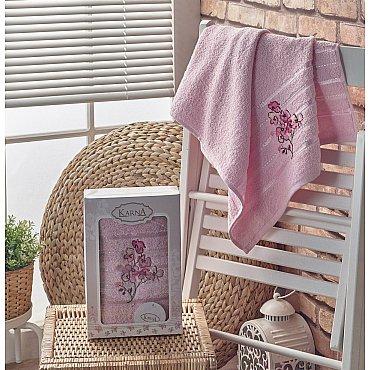 """Полотенце махровое в коробке """"KARNA PAPILON"""", светло-розовый, 50*90 см"""