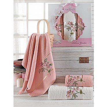 Комплект махровых полотенец Merzuka Sakura Garden (50*80*2; 70*130), брусничный