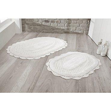 """Набор ковриков для ванной кружевной """"MODALIN LOKAL"""" (60*100; 50*70), кремовый"""