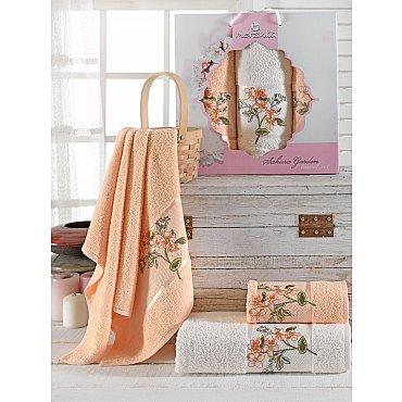Комплект махровых полотенец Merzuka Sakura Garden (50*80*2; 70*130), оранжевый