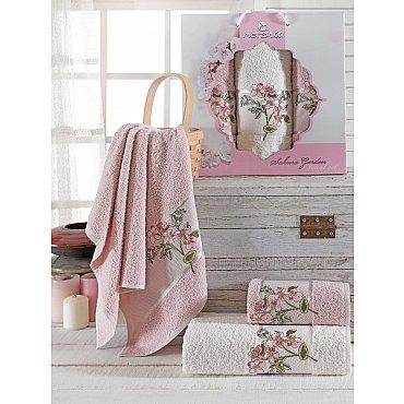 Комплект махровых полотенец Merzuka Sakura Garden (50*80*2; 70*130), розовый