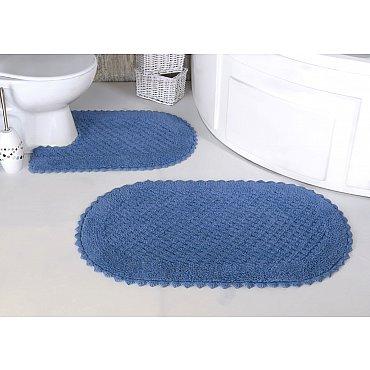 """Набор ковриков для ванной кружевной """"MODALIN PRIOR"""" (60*100; 50*70), голубой"""