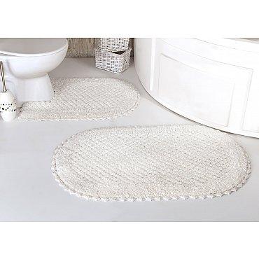 """Набор ковриков для ванной кружевной """"MODALIN PRIOR"""" (60*100; 50*70), кремовый"""