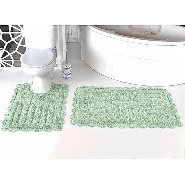 """Набор ковриков для ванной кружевной """"MODALIN ANCOR"""" (60*100; 50*70), ментол"""