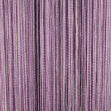 Кисея нитяная штора на кулиске серебро - Сиреневая