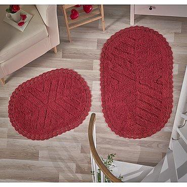 """Набор ковриков для ванной кружевной """"MODALIN CROSS"""" (60*100; 50*70), красный"""