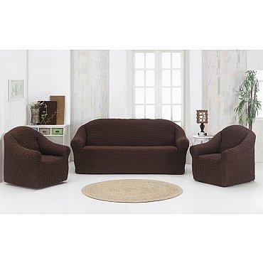 "Набор чехлов для дивана и кресел ""KARNA"" 3+1+1 , без юбки, коричневый"