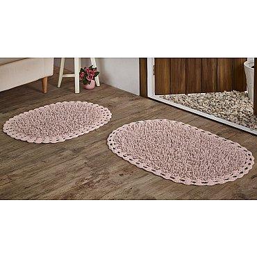 """Набор ковриков для ванной кружевной с люрексом """"MODALIN DUAL"""" (50*80; 45*60), розовый"""