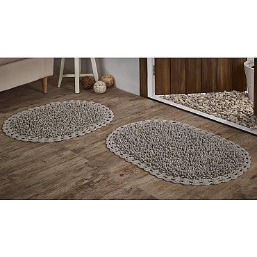 """Набор ковриков для ванной кружевной с люрексом """"MODALIN DUAL"""" (50*80; 45*60), капучино"""