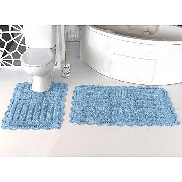 """Набор ковриков для ванной кружевной """"MODALIN ANCOR"""" (60*100; 50*70), светло-голубой"""