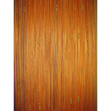 Кисея нитяная штора на кулиске с жемчугом - Оранжевая