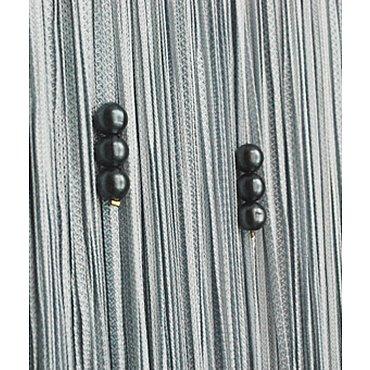 Кисея нитяная штора на кулиске с жемчугом - Серебро