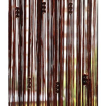 Кисея нитяная штора на кулиске с жемчугом - Коричневая
