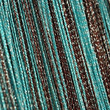 Кисея нитяная штора на кулиске радуга с люрексом - Коричневая/голубая