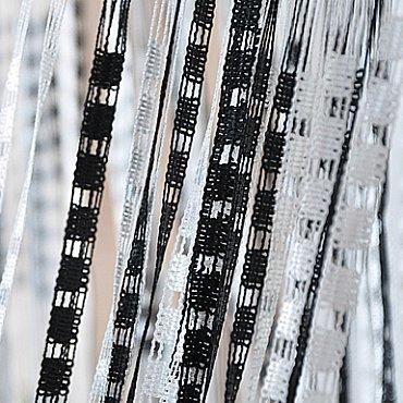 Кисея нитяная штора на кулиске Полоса - белая, черная