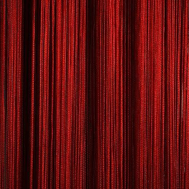 Кисея нитяная штора на кулиске однотонная - Красная