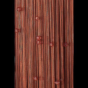 Кисея нитяная штора на кулиске однотонная с камнями - Коричневая