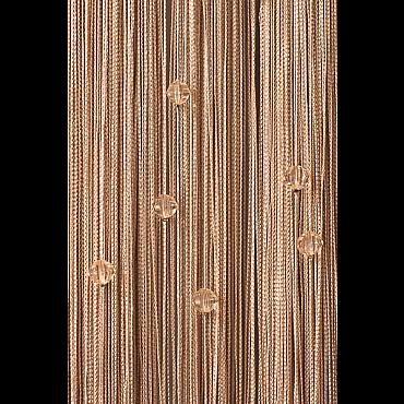 Кисея нитяная штора на кулиске однотонная с камнями - Бежевая