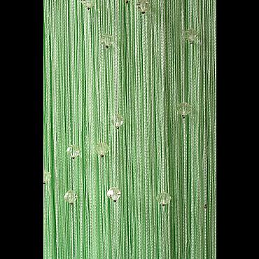 Кисея нитяная штора на кулиске однотонная с камнями - Фисташковая