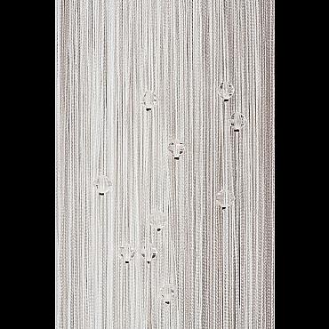 Кисея нитяная штора на кулиске однотонная с камнями - Белая