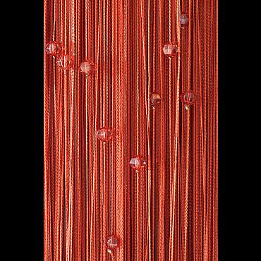 Кисея нитяная штора на кулиске однотонная с камнями -Терракот