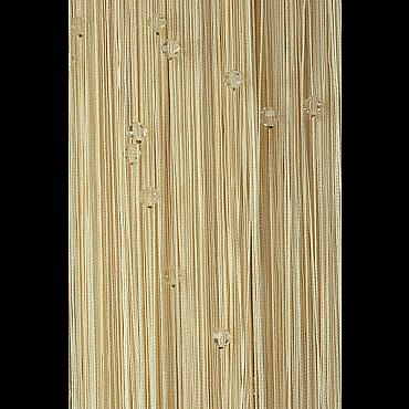 Кисея нитяная штора на кулиске однотонная с камнями - Молоко