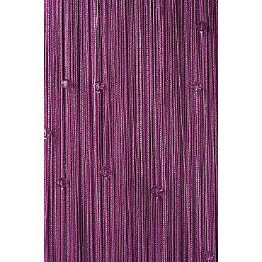 Кисея нитяная штора на кулиске однотонная с камнями - Сирень