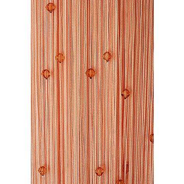 Кисея нитяная штора на кулиске однотонная с камнями - Персик
