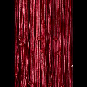Кисея нитяная штора на кулиске однотонная с камнями - Бордо