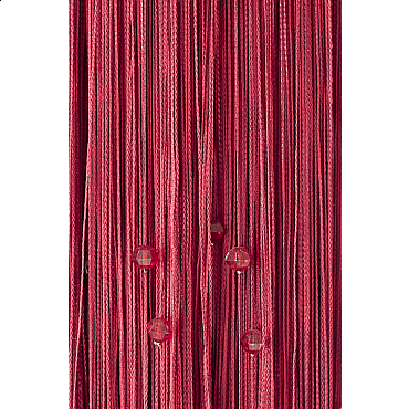 Кисея нитяная штора на кулиске однотонная с камнями - Фуксия