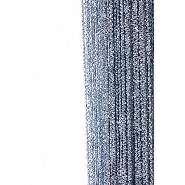 Кисея нитяная штора на кулиске облака - Серебряная