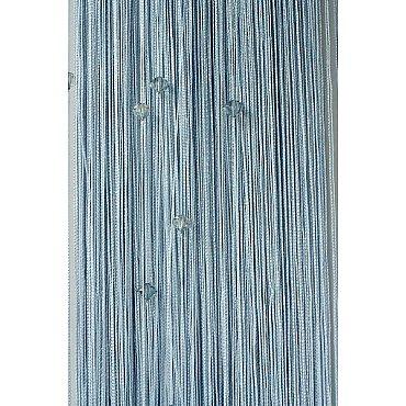 Кисея нитяная штора на кулиске однотонная с камнями - Серебро