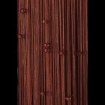 Кисея нитяная штора на кулиске однотонная с камнями -Темный шоколад
