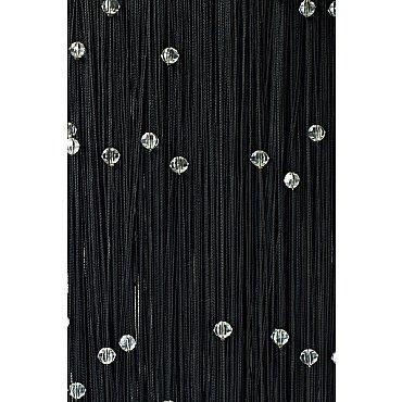 Кисея нитяная штора на кулиске однотонная с камнями - Черная