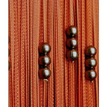 Кисея нитяная штора на кулиске с жемчугом - Терракотовая
