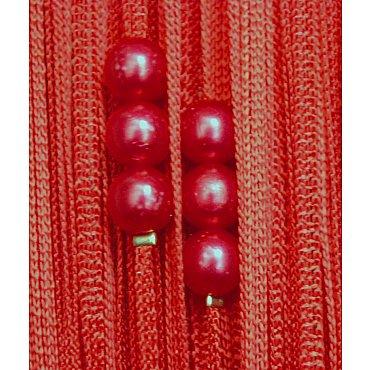 Кисея нитяная штора на кулиске с жемчугом - Красная