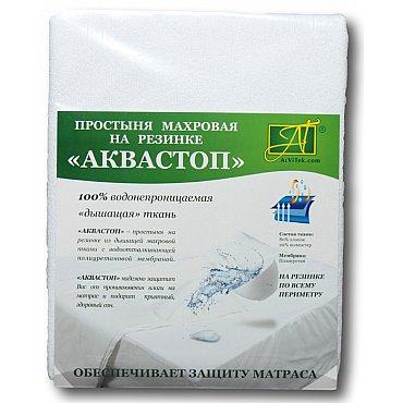 """Простынь """"Аквастоп"""" на резинке, белый, 60*120*20 см"""