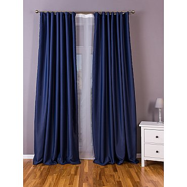 Комплект портьер блэкаут однотонный B501-6, синий, 150*260 см