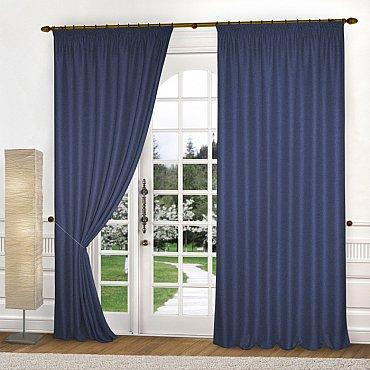 Комплект портьер блэкаут-мелкая рогожка B503-6, синий, 150*270 см