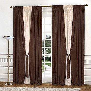Комплект штор К304-1, темно-коричневый, светло-бежевый, 240*270 см
