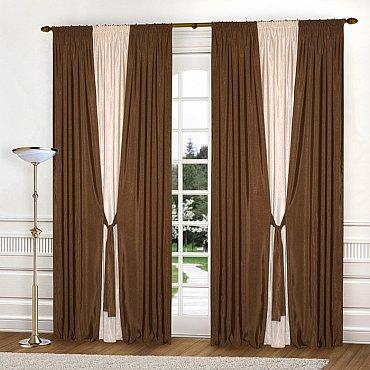 Комплект штор К304-2, коричневый, светло-бежевый, 180*260 см