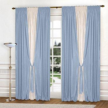 Комплект штор К304-7, голубой, молочный, 180*250 см