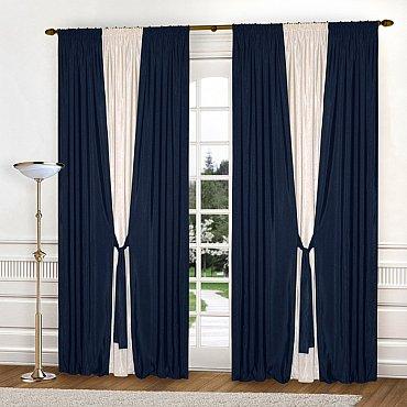 Комплект штор К304-8, синий, молочный, 180*250 см