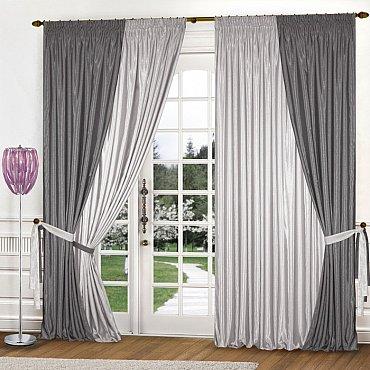 Комплект штор К309-23, светло-серый, стальной, 240*250 см