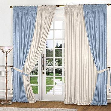 Комплект штор К309-7, голубой, молочный, 180*240 см