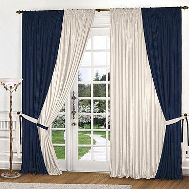Комплект штор К309-8, синий, молочный, 180*260 см