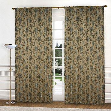 Комплект штор К322-6, коричневый, бирюзовый, 145*250 см