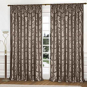 Комплект штор К326-51, серо-коричневый (светлый фон), 250*270 см