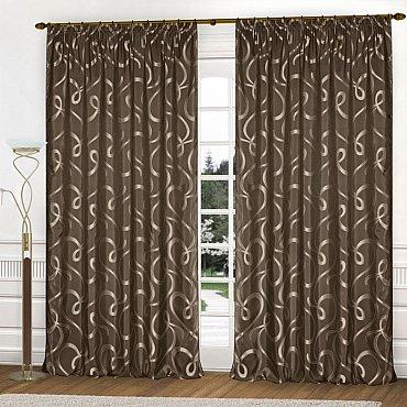 Комплект штор К326-52, серо-коричневый, 250*260 см